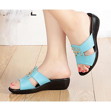 06628039 semelle Eté de Femme Bleu Sandales Blanc compensée Hauteur Chaussures Cuir Confort A1wwfPxqR