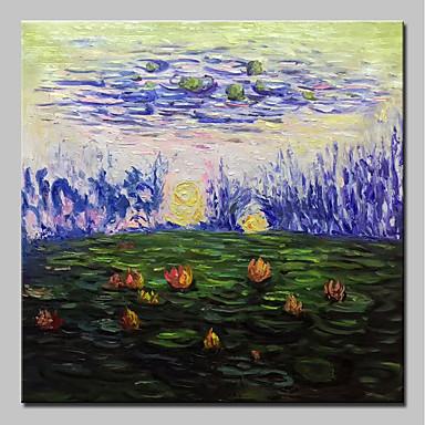 Hang-Malowane obraz olejny Ręcznie malowane - Abstrakcja / Kwiatowy / Roślinny Klasyczny / Vintage Naciągnięte płótka / Rozciągnięte płótno