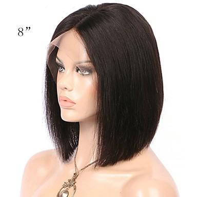 Χαμηλού Κόστους Περούκες από Ανθρώπινη Τρίχα-Φυσικά μαλλιά Χωρίς επεξεργασία Ανθρώπινη Τρίχα Δαντέλα Μπροστά Περούκα Κούρεμα καρέ Σύντομο βαρίδι Μέσο μέρος Kardashian στυλ Βραζιλιάνικη Ίσιο Περούκα 130% Πυκνότητα μαλλιών / 100% δεμένη στο χέρι