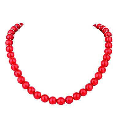 abordables Collier-Collier Chaîne Femme Perle Perle dames Bohème Mode Mignon Rouge 45.5 cm Colliers Tendance Bijoux pour Cérémonie Carnaval Forme de Ligne