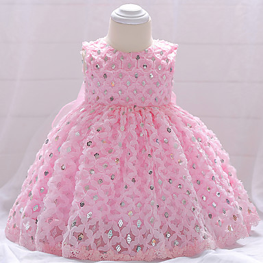 212baed535 Baby Girls' Party / Going out Solid Colored Sequins Sleeveless Cotton Dress  White / Cute