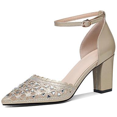 Mujer Zapatos PU microfibra sintético Verano / Otoño Gladiador / Pump Básico Tacones Tacón Cuadrado Dorado / Blanco / Fiesta y Noche XPmrwd6TVY