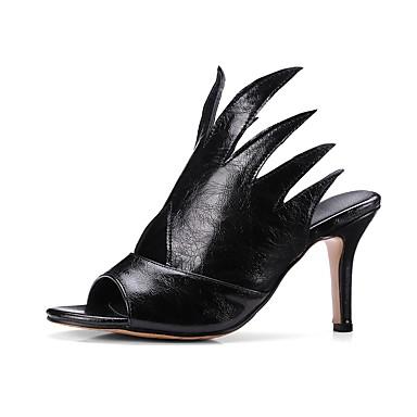 ouvert Bout Chaussures Bride Similicuir Femme Blanc Chaussons Aiguille Tongs Noir Arrière Confort 06640201 Eté A Vin amp; Talon 7wXOxXqdf5