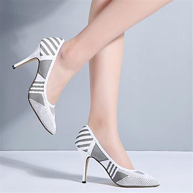 Femme Blanc Confort Noir 06627214 Chaussures à Basique Talons Eté Aiguille Talon Tricot Printemps Chaussures Escarpin prwWpSHZa