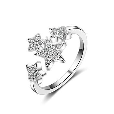 billige Motering-Dame Håndledd Ring / vikle ring / Micro Pave Ring Sølv Kobber damer / Enkel / Koreansk Daglig Kostyme smykker / Stjerne