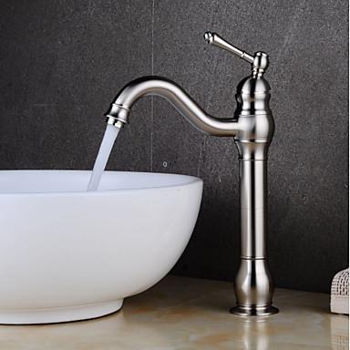 Bateria do umywalki łazienkowej - Na nóżkach Nikiel szczotkowany Umieszczona centralnie Jeden uchwyt Jeden otwór