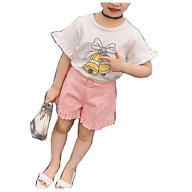 Brzdąc Dla dziewczynek Podstawowy Jendolity kolor / Nadruk Krótki rękaw Bawełna Komplet odzieży