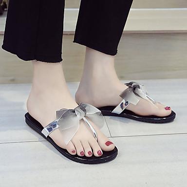 Plano Mujer Tacón Verano Zapatillas Dedo Blanco 06642156 Negro redondo flops Confort flip Zapatos PU Pajarita y zr8qFzw