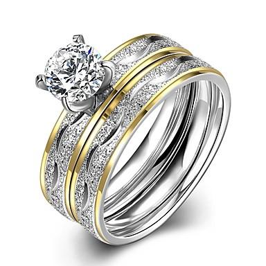 voordelige Herensieraden-Heren Ring Set 2pcs Goud Titanium Staal Roestvrij staal Cirkelvorm Bruiloft Dagelijks Sieraden Tweekleurig