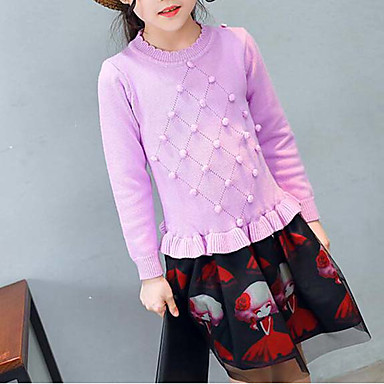 Girl's Dress, Cotton Polyester Spring Fall Long Sleeves Floral Red Purple
