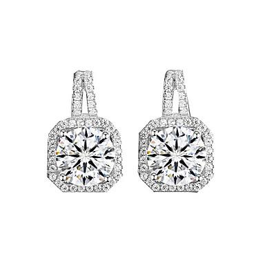 voordelige Oorbellen-Dames Diamant Kubieke Zirkonia kleine diamant Oorknopjes Zirkonia oorbellen Sierlijk Dames Europees Modieus Elegant Sieraden Zilver Voor Bruiloft Avond Feest