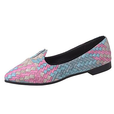 Plano Dedo sintético Zapatos Rojo Azul Puntiagudo PU Mujer Verano 06637593 Bailarinas Tacón Confort microfibra Verde q8zHwR