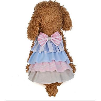 abordables Ropa para Perro-Perros Gatos Vestidos Ropa para Perro Retazos Lazo Gris Rosa Tejido de Algodón Disfraz Para Dálmata Beagle Pekinés Primavera & Otoño Verano Mujer Vestidos y faldas Estilo Dulce