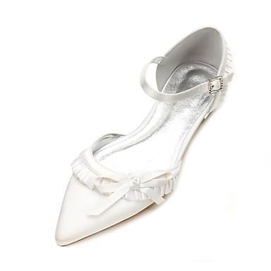povoljno Ženske cipele-Žene Vjenčanje Cipele Ravna potpetica Krakova Toe Mašnica / Ušivena čipka Saten Udobne cipele / D'Orsay cipele Proljeće / Ljeto Dark Blue / Srebro / Kristalne