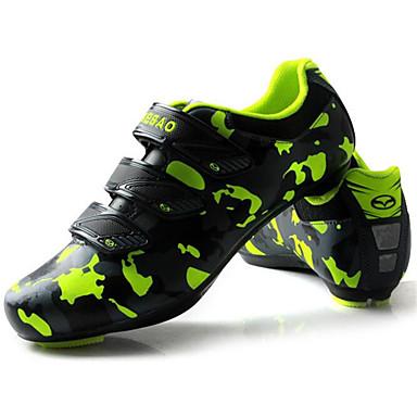 رخيصةأون أحذية ركوب الدراجة-Tiebao® Road Bike Shoes ألياف الكربون مكافح الانزلاق ركوب الدراجة أخضر  / أسود رجالي أحذية الدراجة / هوك وحلقة