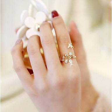 halpa Sormukset-mansetti Ring Säädettävä rengas Flower Butterfly Muoti Muotisormukset Korut Ruusukulta Käyttötarkoitus Häät Deitti Säädettävä