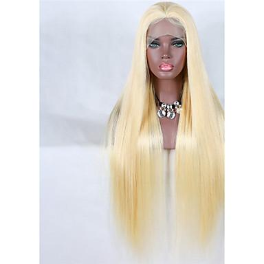 abordables Perruques Naturelles Dentelle-Perruque Cheveux Vierges Naturel Full Lace Cheveux Brésiliens Droit Blond 150% avec des cheveux de bébé Ligne de Cheveux Naturelle Blond Platine Femme Moyen Long Très long Perruque Naturelle Dentelle