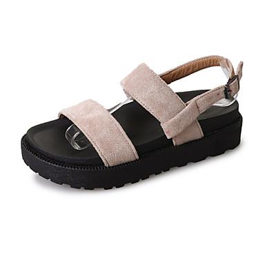 Mulheres Sandálias de calcanhar plano Couro Ecológico Primavera / Verão Conforto Sandálias Sem Salto Dedo Aberto Presilha Preto / Khaki