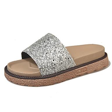 Női Cipő PU / Szövet Nyár Kényelmes Papucs és papuc Gyalogló Lapos Lábujj nélküli Csokor mert Arany / Fekete / Ezüst