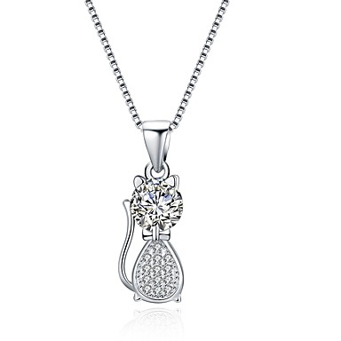 3b9e220374f5 Women s Diamond Cubic Zirconia tiny diamond Pendant Necklace S925 Sterling  Silver Cat Ladies Fashion Silver 41 cm Necklace Jewelry One-piece Suit For  Gift ...