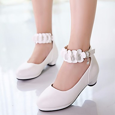 Girls' Shoes PU(Polyurethane) Spring / Fall Flower Girl Shoes / Tiny Heels for Teens Heels for White / Black / Pink 6618246 2019 – $23.74