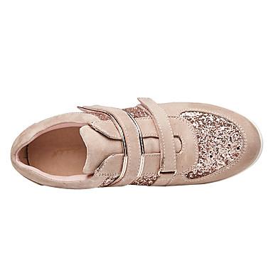 fermé Paillette Automne semelle Noir Printemps Chaussures Paillettes 06642284 de Hauteur Basket Femme Cuir Confort compensée Bout Rose qOw1ggf7