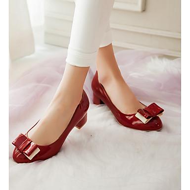 Nouveauté Similicuir Bottier Femme Talon Talons Rouge Chaussures Rose Bout 06641907 Noeud Printemps Confort Vert Chaussures Automne à rond X5Xpvqrw