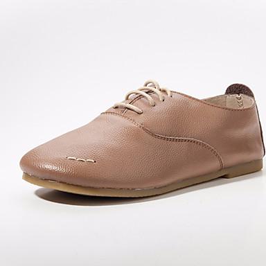 Cuir Oxfords Talon Printemps Ivoire Femme Confort Chameau Chaussures 06682463 Plat CxPw5