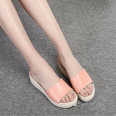Cuña Tacón Puntera Negro Confort Cuero abierta 06698922 Zapatos Rosa Blanco Verano Sandalias Mujer YZUXqU