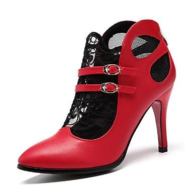 Chaussures 06683478 Chaussures Femme Escarpin à Talon Aiguille Printemps Boucle Cuir Bout Rouge Talons pointu Basique Noir qrXwrZd