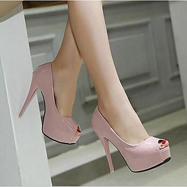 Tacón Mujer Rosa Negro PU Confort Zapatos Verano Sandalias Stiletto 06674048 a4qRp