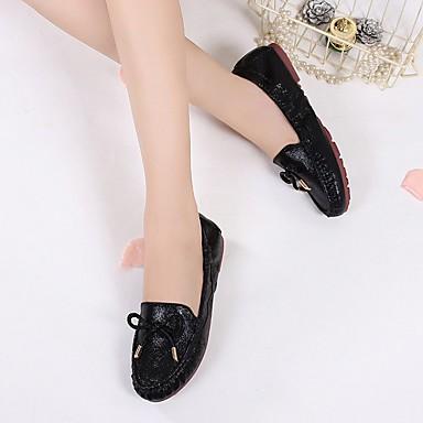 Bailarinas Tacón Confort verano 06684675 Dorado Primavera Otoño Negro Plano Plata PU Mujer Zapatos RFqZOO