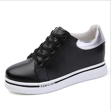 Plano Mujer Negro Blanco Zapatos Cuero Zapatillas Primavera Tacón de deporte verano redondo Dedo 06695062 Confort OOzrqw