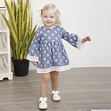billige Baby & Kids-Barn Jente Aktiv Gatemote Daglig Helg Blomstret Blonde Langermet Midi Kjole Lyseblå / Bomull