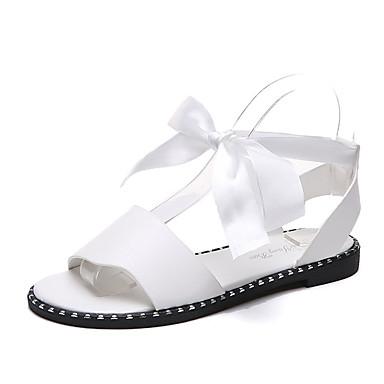 de Mujer Dedo Tacón Verano Con Zapatos Negro Lazo Sandalias 06650228 Lazo Plano redondo Corbata Confort PU Blanco vxXrvUwq0