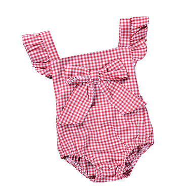 bc1446196185 Baby Girls  Active   Basic Daily   Holiday Striped   Plaid Backless   Bow    Vintage Style Short Sleeves Cotton   Polyester Bodysuit Black