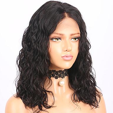Păr Remy Față din Dantelă Perucă Păr Brazilian / Val de Apă Ondulat Perucă Tunsoare bob 130% Cu părul copiilor / Linia naturală de păr / Perucă Americană Africană Pentru femei Scurt / Lungime medie