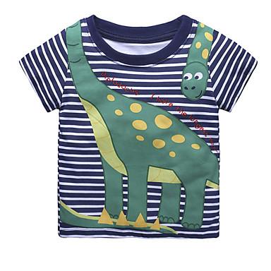 baratos Camisas para Meninos-Bébé Para Meninos Activo Diário Feriado Listrado Estampado Manga Curta Padrão Algodão Camiseta Azul Real