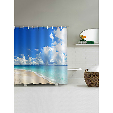 Shower Curtains & Hooks Contemporary Casual Polyester 3D Machine Made Waterproof Bathroom