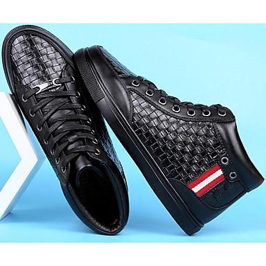 Męskie Komfortowe buty Skóra bydlęca Zima Adidasy Czarny