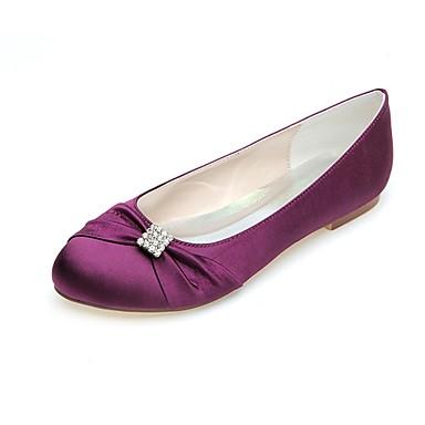 Strass Satin Ballerines rond Blanc Femme été Mariage Printemps Chaussures Violet Ivoire 06694912 Plat Ballerine Talon Bout AxvXT