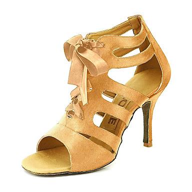 hesapli Latin Dans Ayakkabıları-Kadın's Dans Ayakkabıları Saten Balo / Salsa Ayakkabıları Toka Sandaletler Kişiselleştirilmiş Sarı / Fuşya / Mor / EU42