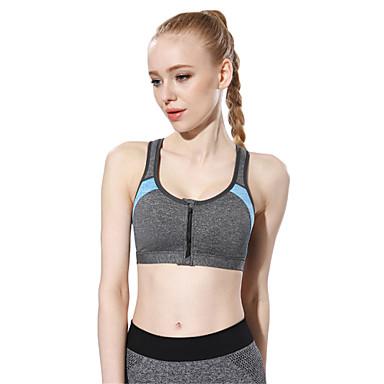Ringer-Rücken-Kleid / Patchwork Reißverschluß vorne Sport-BHs Gefüttert Leichte Unterstützung Für Yoga / Laufen / Fitness - Schwarz / Purpur / Blau Rasche Trocknung, Atmungsaktiv, nahtlos Damen Sexy