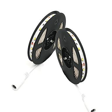billige LED Strip Lamper-2 stk zdm 2x5m strip lys 300 leds smd 2835 varm hvit / kald hvit / rød cuttable / selvklebende 12v