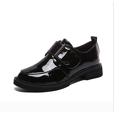 Women's Shoes Leatherette Spring Comfort Oxfords Flat Heel Round Toe Buckle  for Outdoor Black / Burgundy