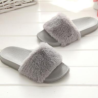 voordelige Damespantoffels & slippers-Dames Slippers & Flip-Flops Platte hak Open teen  Weefsel Comfortabel Lente zomer Grijs / Roze / Khaki