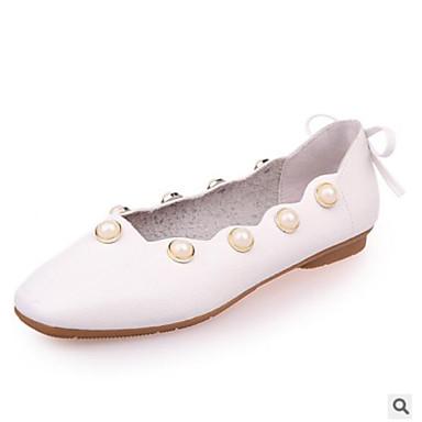Bailarinas Zapatos PU Verano Tacón Mujer Confort 06669560 Blanco Plano Marrón Beige qCOxwa1