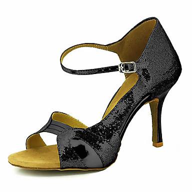 Mulheres Sapatos de Dança Latina / Sapatos de Salsa Glitter / Courino Sandália / Salto Presilha / Cadarço de Borracha Salto Personalizado Personalizável Sapatos de Dança Vermelho / Azul / Rosa claro