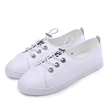 Women's Shoes Synthetic Sneakers Microfiber PU Fall Comfort Sneakers Synthetic Flat Heel White / Black c8402c