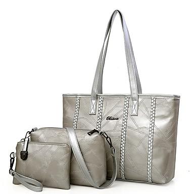896ca3b4b6 Γυναικεία Τσάντες PU Σετ τσάντα 3 σετ Σετ τσαντών Φερμουάρ Χρυσό   Μαύρο    Ασημί